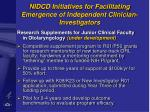 nidcd initiatives for facilitating emergence of independent clinician investigators