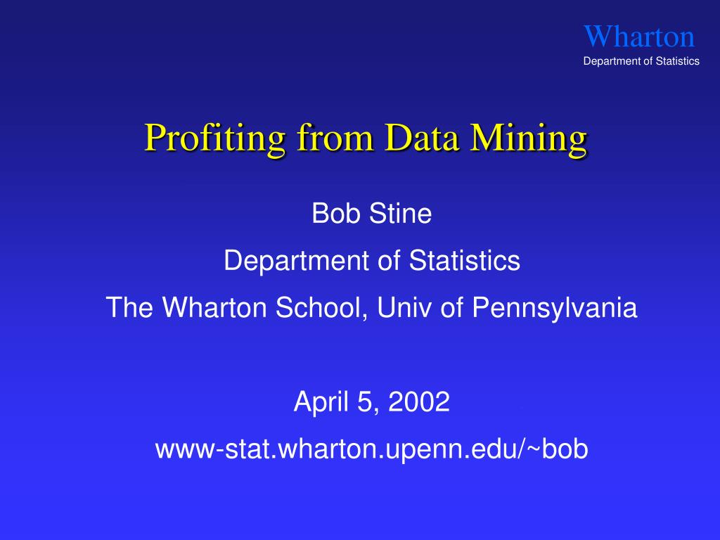 profiting from data mining l.
