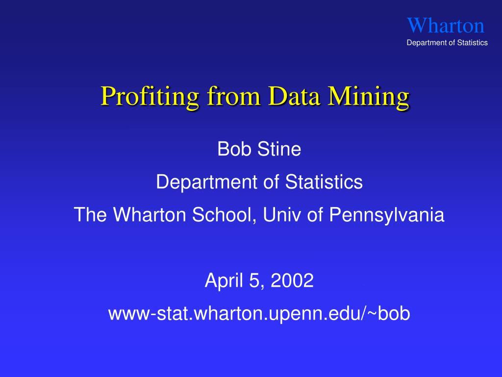 profiting from data mining l.