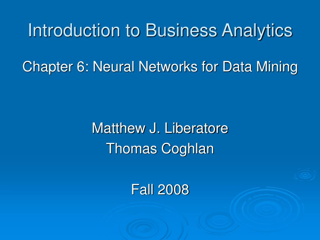 introduction to business analytics l.