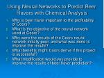 using neural networks to predict beer flavors with chemical analysis