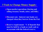 3 tools to change money supply