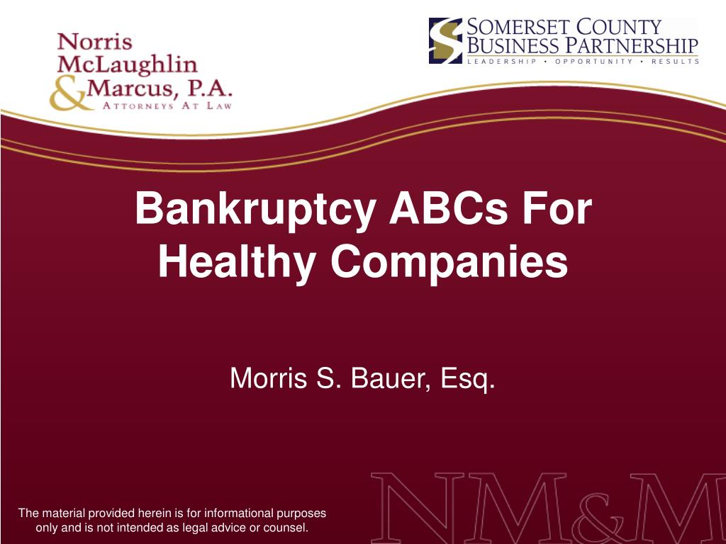 bankruptcy abcs for healthy companies l.