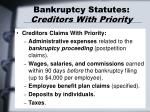 bankruptcy statutes creditors with priority1