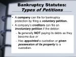bankruptcy statutes types of petitions