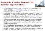 earthquake nuclear disaster in 2011 economic impact and issues