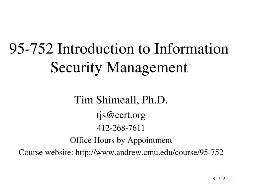 95 752 introduction to information security management l.
