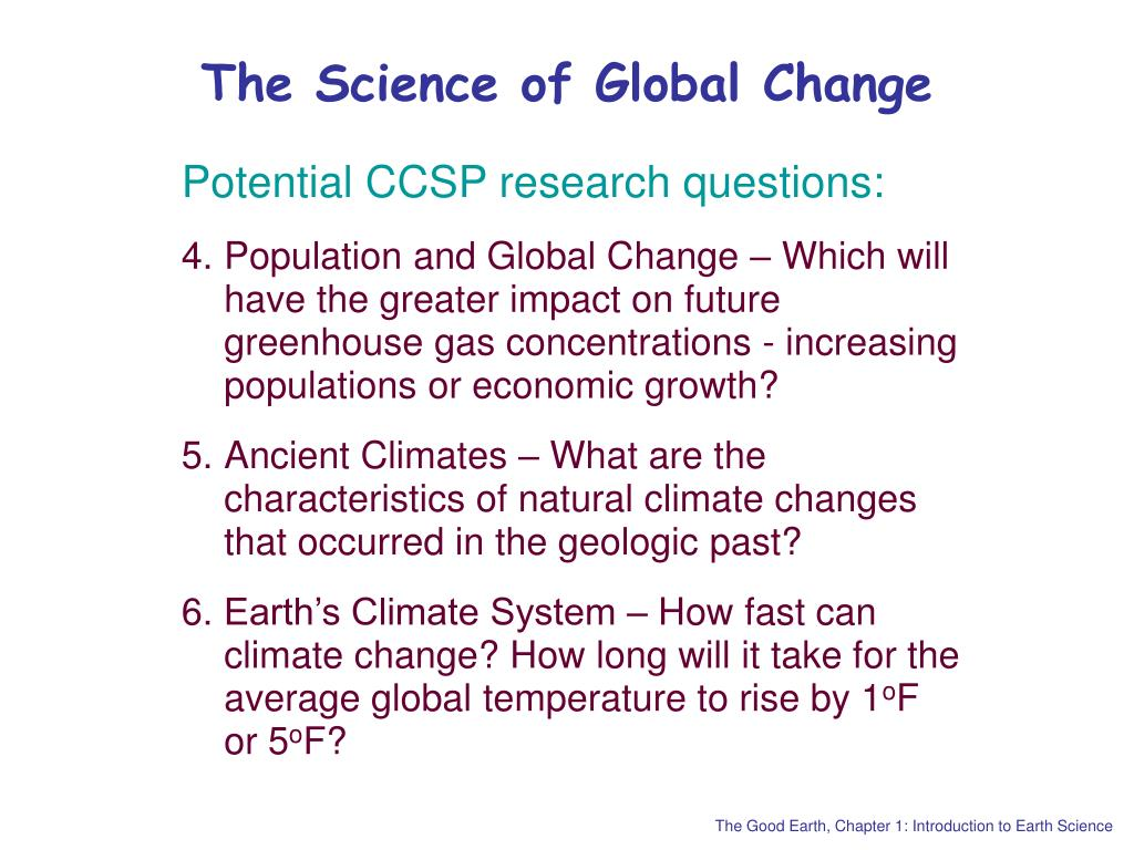The Science of Global Change