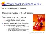 private health insurance varies
