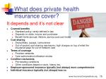 what does private health insurance cover