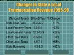 changes in state local transportation revenue 1995 99