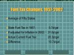 fuel tax changes 1957 2002