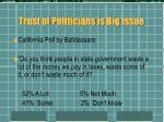 trust of politicians is big issue
