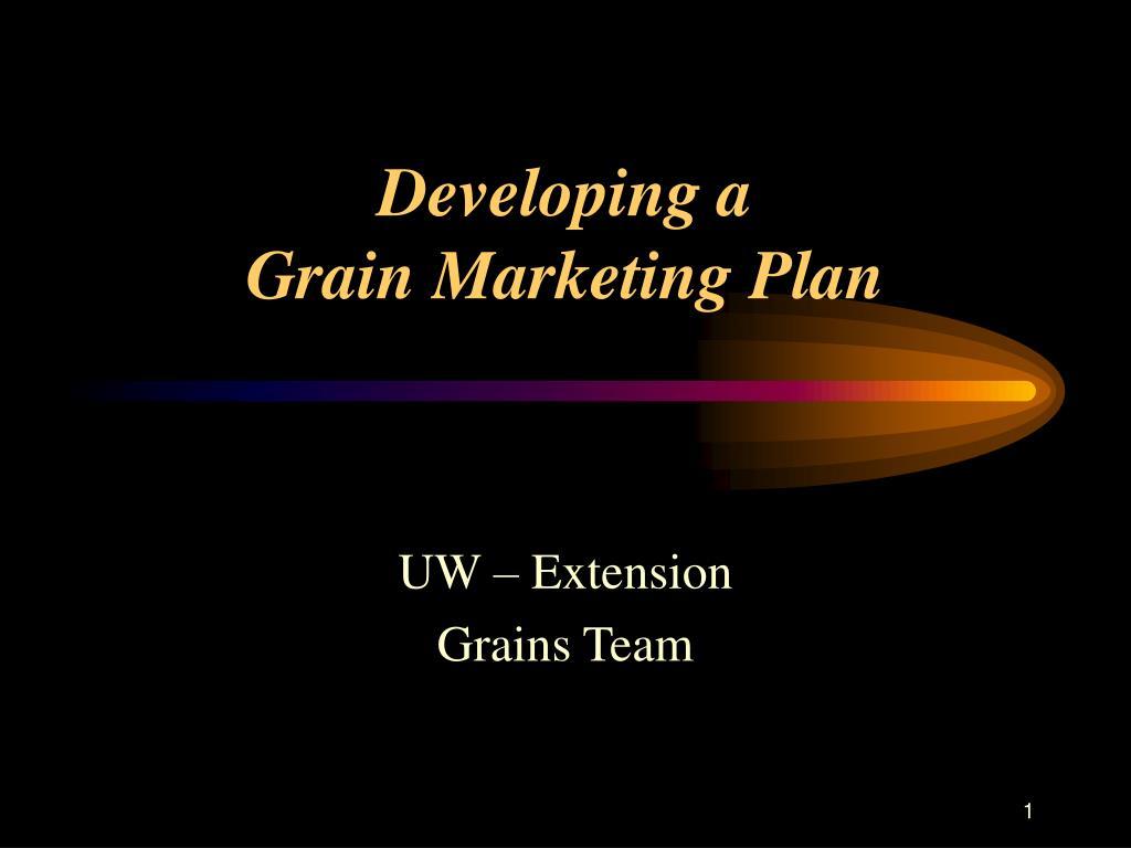 developing a grain marketing plan l.