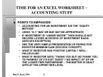 time for an excel worksheet accounting stuff