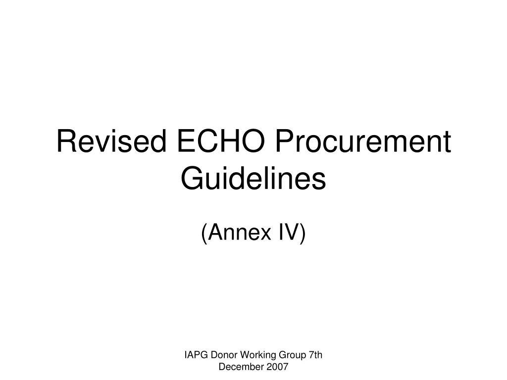 revised echo procurement guidelines l.