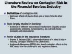 literature review on contagion risk in the financial services industry