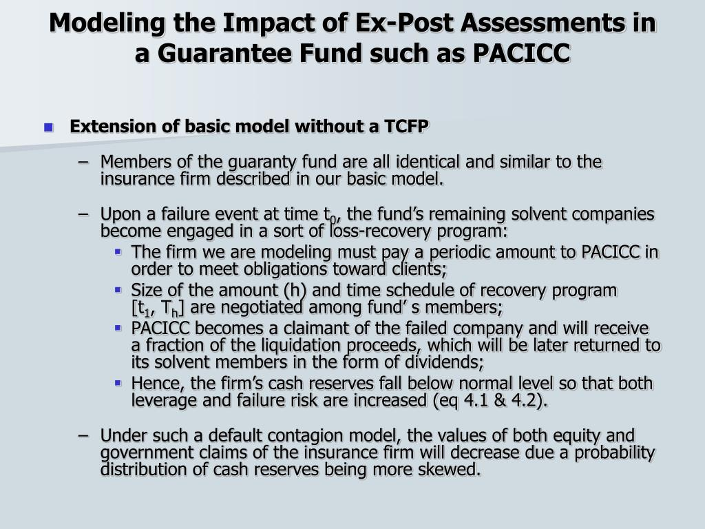 Modeling the Impact of Ex-Post Assessments in a Guarantee Fund such as PACICC