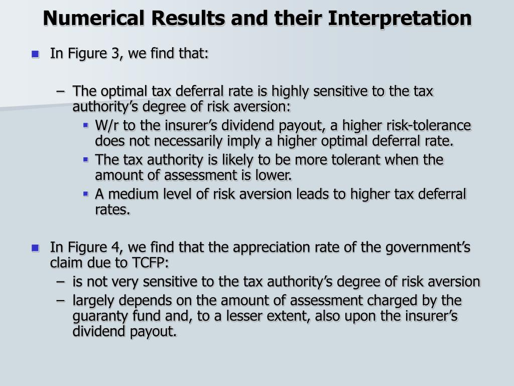 Numerical Results and their Interpretation
