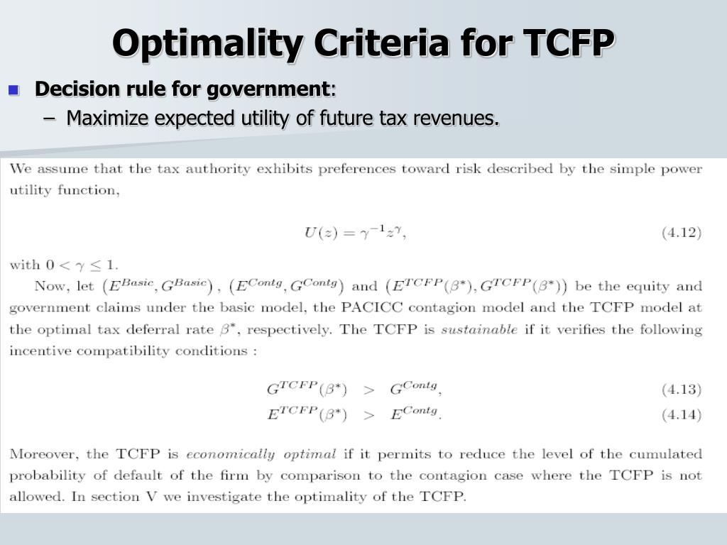 Optimality Criteria for TCFP