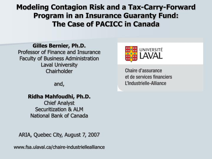 Modeling Contagion Risk and a Tax-Carry-Forward Program in an Insurance Guaranty Fund: