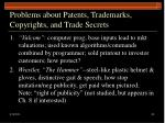 problems about patents trademarks copyrights and trade secrets