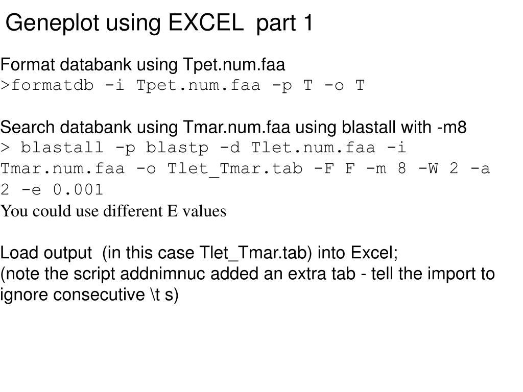 Geneplot using EXCEL  part 1