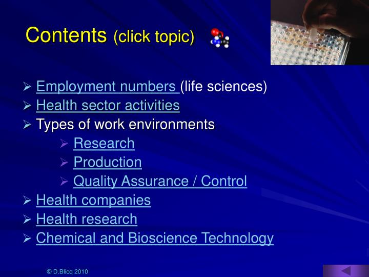 Contents click topic