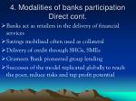 4 modalities of banks participation direct cont