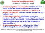 corporate social responsibility components of csr report cont