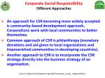 corporate social responsibility different approaches
