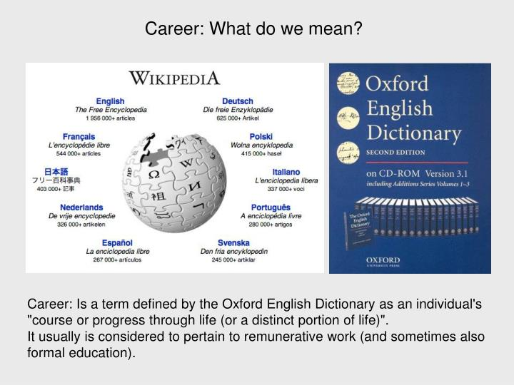 Career: What do we mean?