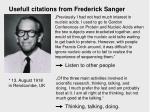 usefull citations from frederick sanger