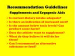 recommendation guidelines supplements and ergogenic aids