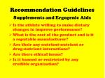 recommendation guidelines supplements and ergogenic aids62