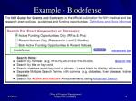 example biodefense