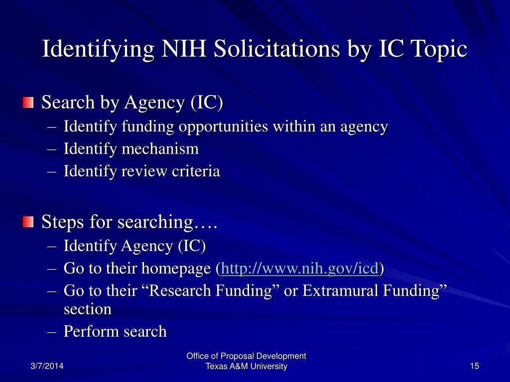 Identifying NIH Solicitations by IC Topic