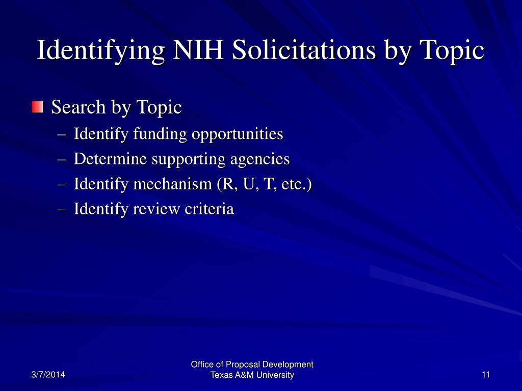 Identifying NIH Solicitations by Topic