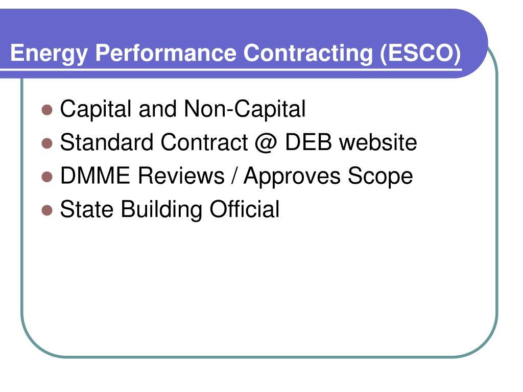 Energy Performance Contracting (ESCO)