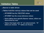 validation tables