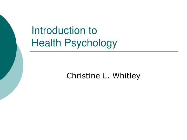 introduction to health psychology n.