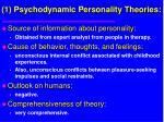 1 psychodynamic personality theories