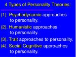 4 types of personality theories