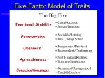 five factor model of traits54