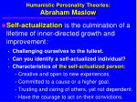 humanistic personality theories abraham maslow