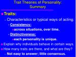 trait theories of personality summary
