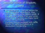 general words of wisdom cont d