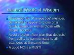general words of wisdom