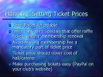 planning setting ticket prices