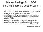 money savings from doe building energy codes program